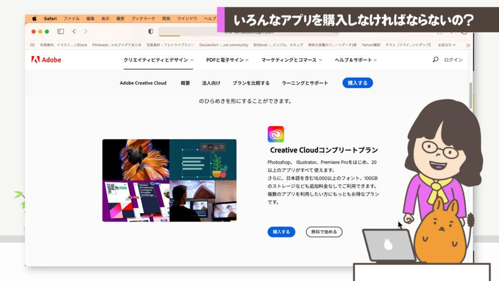Creative CloudコンプリートプランWEBサイト