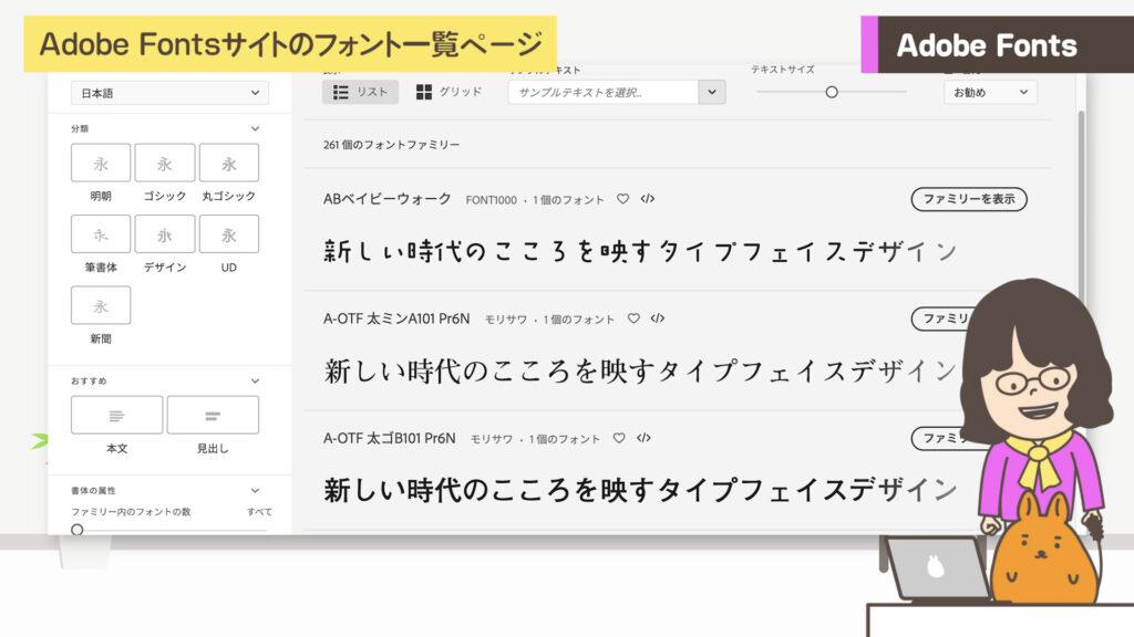 Adobe Fontsサイト