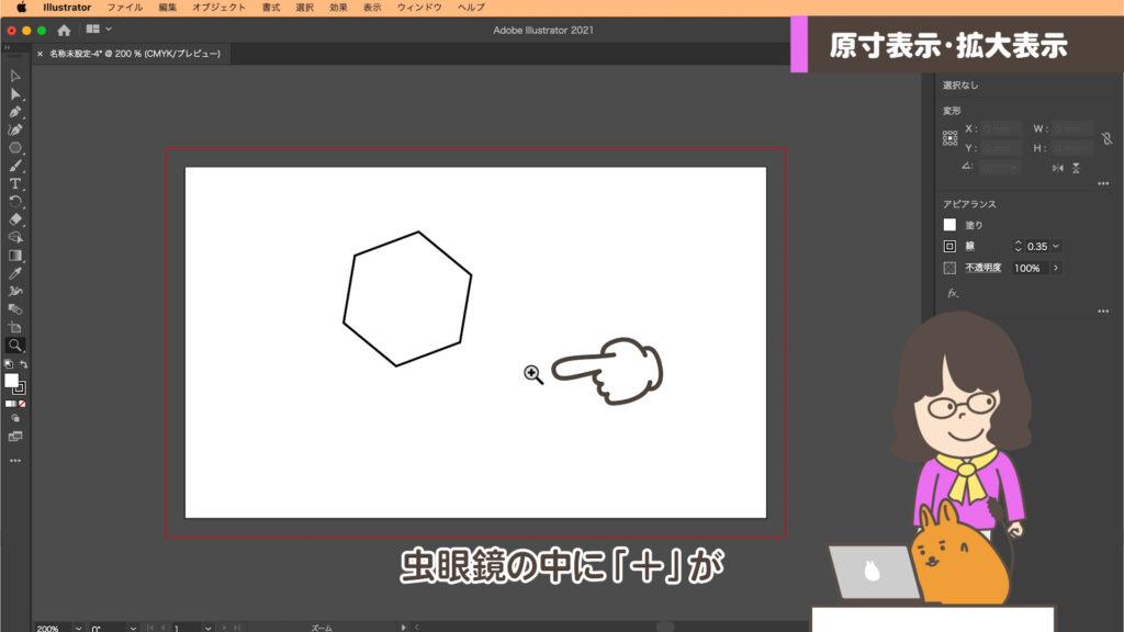 ズームツール+のアイコンの画面